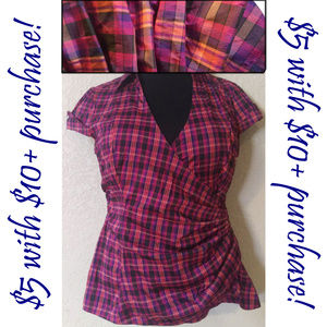 Pink & purple plaid top M 💎$5 WITH $10+ PURCHASE